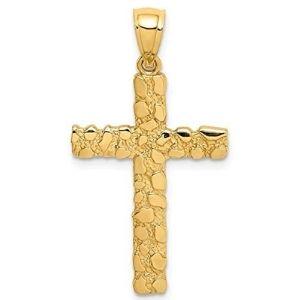dije de cruz para hombre, de oro amarillo macizo de 14 k