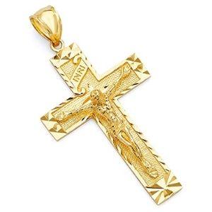 dije de crucifijo para hombre, de oro amarillo de 14 k