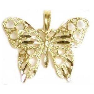 dije de mariposa para mujer, de oro amarillo de 14 k