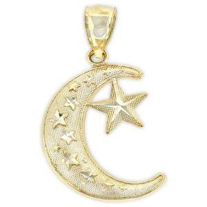 dije de luna y estrella para mujer, de oro amarillo macizo de 14 k