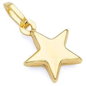 dije de estrella para mujer, de oro amarillo de 14 k