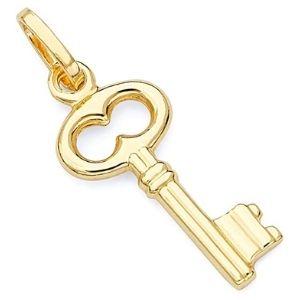 dije de llave antigua para mujer, de oro amarillo de 14 k