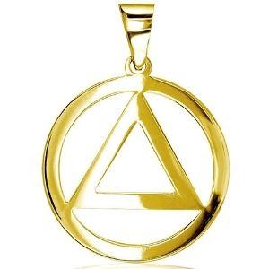 dije de circulo con triangulo interno para mujer, de oro amarillo de 14 k