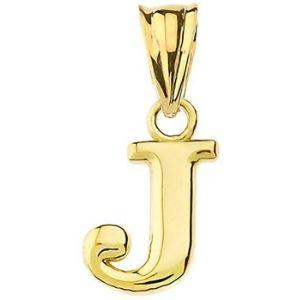 dije de letra inicial a-z para hombre y mujer, de oro amarillo macizo de 14 k