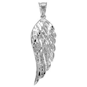 dije de ala de angel para mujer, de oro blanco solido de 14 k