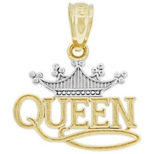 dije de reina con tiara para mujer, de oro amarillo macizo de 14 k