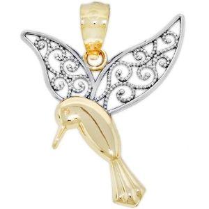 dije de colibri para mujer, de oro amarillo macizo de 14 k