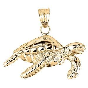 dije de tortuga para hombre y mujer, de oro amarillo macizo de 14 k