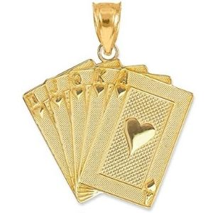 dije de cartas de poquer para hombre, de oro amarillo solido de 14 k