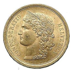 moneda de oro de 20 francos suizos de 1886
