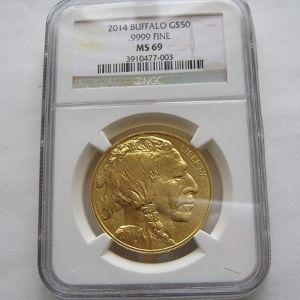 moneda de oro bufalo americano de 50 dolares, año 2014