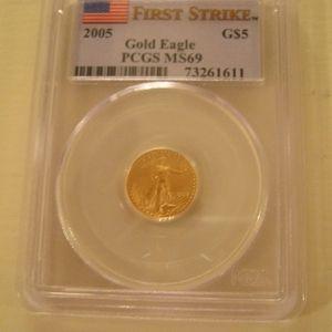 moneda aguila de oro americana de 5 dolares, año 2005