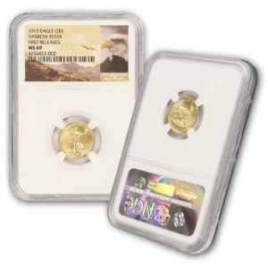moneda aguila de oro americana, de 5 dolares, año 2015, primeros lanzamientos