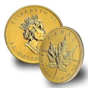 moneda de 50 dolares canadienses de 1 oz de oro puro, de 1979