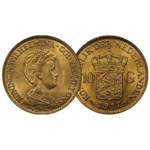 moneda de oro de 10 florines holandeses de 1917