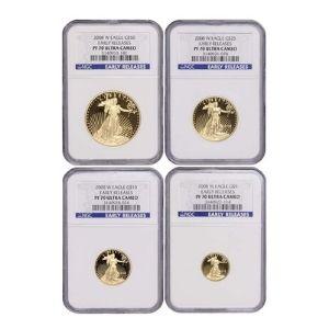 conjunto de 4 monedas aguila de oro americanas, de oro amarillo, año 2008 primeras versiones