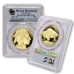 moneda bufalo americano de $50, diamante negro, primera anotacion, año 2017