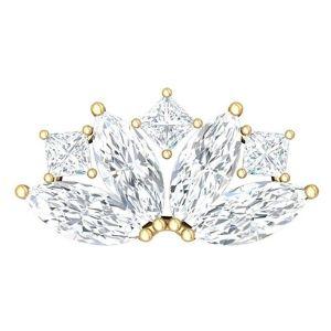piercing de princesa para cartilago, de oro amarillo de 14 k con diamantes