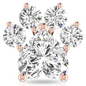 piercing de corazon para cartilago, de oro rosa de 14 k con diamantes