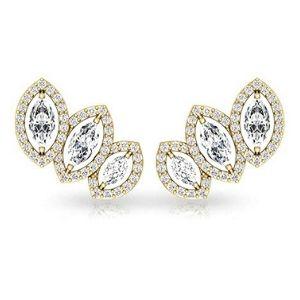 piercing para cartilago, de oro amarillo de 18 k con diamantes