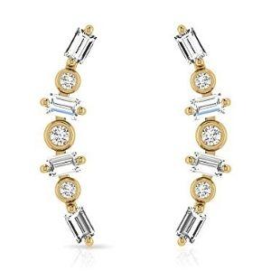 piercing para cartilago, de oro amarillo de 14 k con diamantes