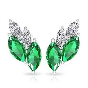 piercing para cartilago, de oro blanco de 14 k con esmeraldas y diamantes