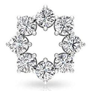 piercing de circulo abierto para cartilago, de oro blanco de 18 k con diamantes