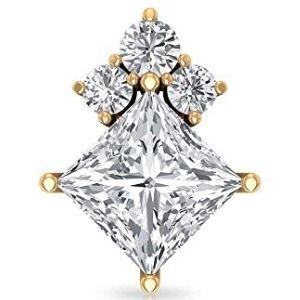 piercing tipo princesa para cartilago, de oro amarillo de 18 k con diamantes