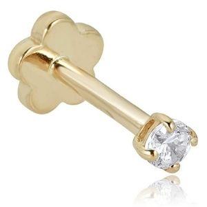 piercing para cartilago, de oro amarillo de 14 k con circonita cubica