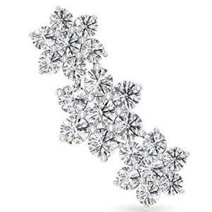 piercing de escala de flores para cartilago, de oro blanco de 14 k con diamantes