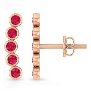 piercing escalador para cartilago, de oro rosa de 14 k con rubies