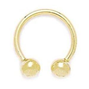 piercing barbell circular para cejas, de oro amarillo de 14 k