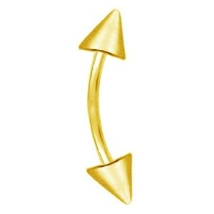 piercing barbell curvado para cejas, de oro amarillo solido de 14 k
