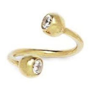 piercing barbell en espiral para cejas, de oro amarillo de 14 k con circonitas