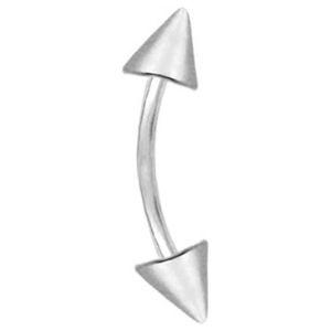 piercing curvado con punta de cono para cejas, de oro blanco solido de 14 k