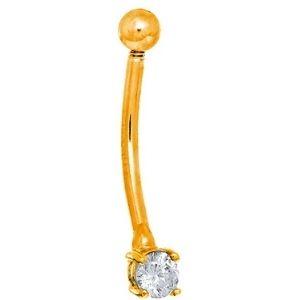 piercing curvado para cejas, de oro amarillo solido de 14 k con circonita cubica