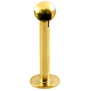 piercing de bola para labio, de oro amarillo solido de 14 k