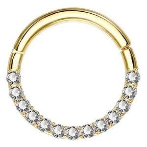 piercing de anillo para labio, de oro amarillo solido de 14 k con circonitas