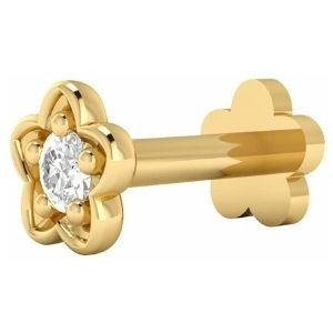 piercing de flor para labio, de oro amarillo de 14 k con diamante