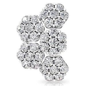 piercing de flor para cartilago, de oro blanco de 18 k con diamantes