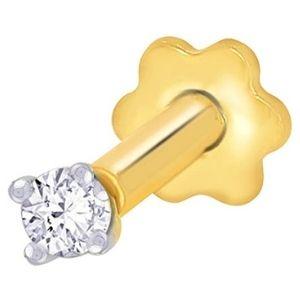 piercing de tornillo para labio, de oro amarillo de 14 k con diamante