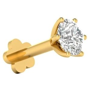 piercing solitario para labio, de oro amarillo de 14 k con diamante
