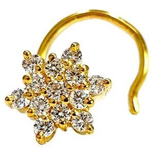 piercing de flor en espiral para nariz. de oro amarillo de 14 k con diamante