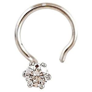 piercing solitario para nariz, de oro blanco macizo de 14 k con diamante