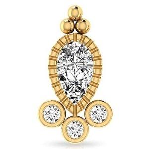 piercing vintage tipo pera para cartilago, de oro amarillo de 14 k con diamantes