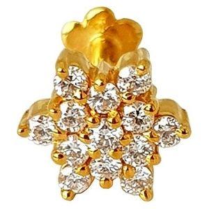 piercing de flor para nariz, de oro amarillo macizo de 14 k con diamantes