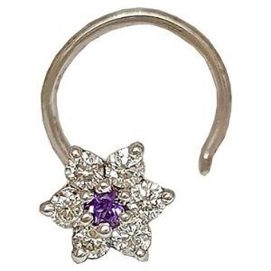 piercing de flor para nariz, de oro blanco macizo de 14 k con diamantes y amatista