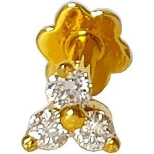 piercing de flor para nariz, de oro amarillo solido de 14 k con diamantes