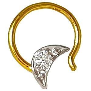 piercing de media luna para nariz, de oro macizo de 14 k con diamante
