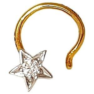 piercing de estrella para nariz, de oro amarillo solido de 14 k con diamante